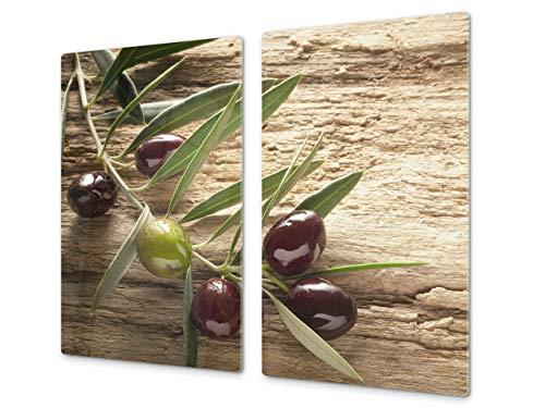 Tabla de Cocina de Vidrio Templado - Tabla de Cortar de Cristal Resistente – Cubre Vitro Decorativo – UNA Pieza (60 x 52 cm) o Dos Piezas (30 x 52 cm); D07A Frutas y Verduras