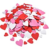 WILLBOND Foam Heart Stickers Foam Hearts Self Adhesive Stickers Hearts for Valentine's Day Mother's Day DIY Crafts, Assorted Size, 3 Colors (500)