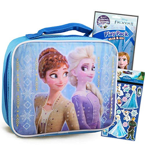 Disney Frozen Lunch Box Travel Activity Set ~ Insulated Frozen Lunch Bag with Frozen Coloring Pack, Games, and Stickers for Girls Boys Kids (Frozen School Supplies Bundle) (Frozen Lunch Box)