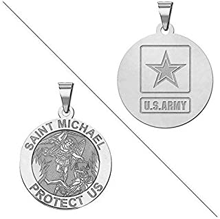 PicturesOnGold.com Saint Michael Doubledside Army Religious Medal - 3/4 Inch Size of a Nickel - Sterling Silver