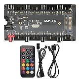 Zwindy Case Fan Hub, Case Fan Controller Hub, Función de sincronización RGB Control Remoto inalámbrico para computadora DIY Ventilador de enfriamiento de computadora