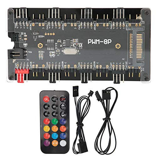 Case Fan Hub PWM + ARGB 2 en 1 Controlador, Fuente de Alimentación SATA + Control de Placa Base y Control Remoto, para Ventilador de Refrigeración de Computadora