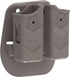 Universal Double Stack Magazine Holster, 9mm .40 Double Mag Paddle Pouch Dual Mag. Holder Fit Glock Sig S&W Beretta Browning Taurus H&K Most Pistol Mags, Tan