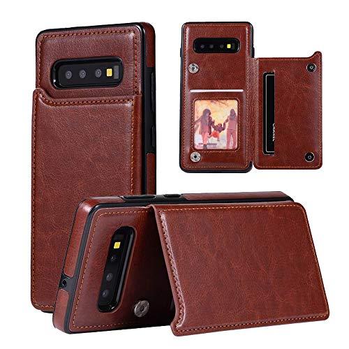 Gaxaly Glaxy - Custodia a portafoglio per Samsung Galaxy S10plus S1 0 10Splus, con scomparti per carte di credito, in poliuretano termoplastico, con cavalletto da 16,7 cm Earthen