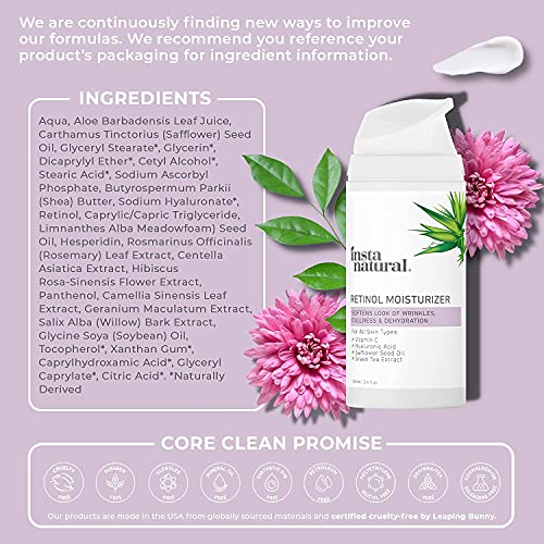 InstaNatural Retinol Moisturizer Anti Aging Night Face Cream - Face & Neck Wrinkle Lotion - Reduce Appearance of Wrinkles, Dark Circles, Fine Lines & Acne - Vitamin C Hyaluronic Acid Complex - 3.4 oz