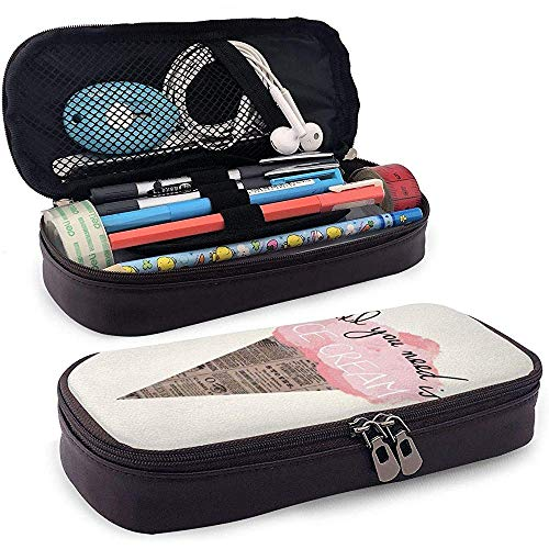 Alles wat je nodig hebt is Ice Cream lederen etui, microvezel Pu lederen briefpapier kunstbenodigdheden Office potlood houder Pen Case Pouch Unisex