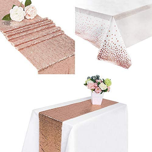 Sequin Table Runner Glitter Rose Gold 12x108 inch Plastic Tablecloths for Rectangle Tables Rose product image