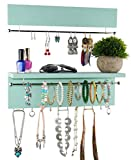 Spiretro Wall Mount Set of 2 Jewelry Organizer Holder Rack, Removable Sliver Metal Bar Display Earrings Bracelets, Hooks Hang Necklaces Ring, Shelf Storage Accessories Ornament, Solid Wood- Turquoise