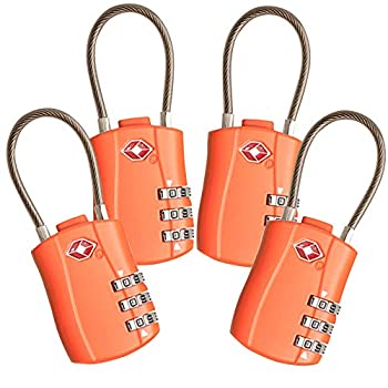 4 Pack TSA Approved Travel Luggage Combination Cable Locks for Suitcases Backpake  Orange