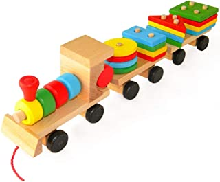 Kids Wooden Toys Stacked Train Blocks, Children's Intellectual Educational Toys, Early Education Toys,Ecological Safety Toys
