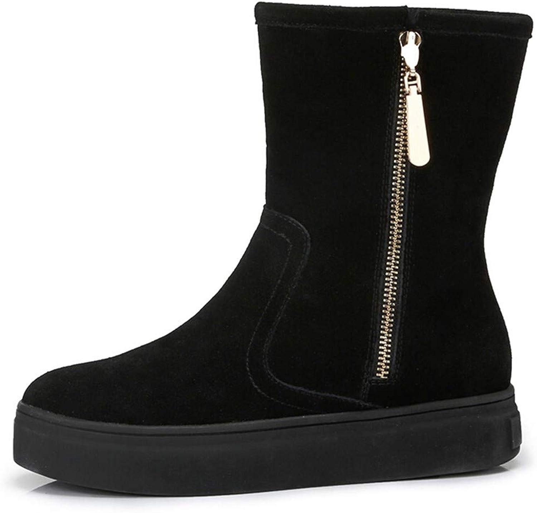 Cute girl Schuhe Winter Damenmode Komfortable Tube Warm Reiverschluss Mit Schnee Stiefel Schwarz