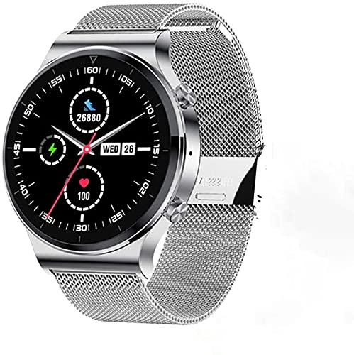 Smartwatch Herren, 1.3 Zoll Touch-Farbdisplay Armbanduhr, Fitnessuhr mit Schrittzähler, Fitness Tracker IP68 Wasserdicht Sportuhr Smart Watch mit Pulsuhr und Schlafmonitor für IOS Android (Silber)