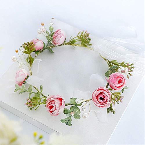 Elegante bruid eenvoudige parel cirkel roze bloem haar met idylliachische bruidsjurk haaraccessoires vakantie