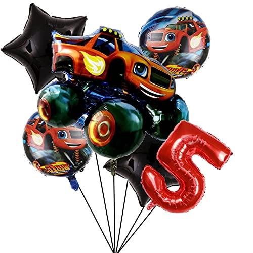 JSJJATQ Globos Decoraciones de Fiesta Blaze Monster Machines de 32 Pulgadas Número Globo Fiesta de cumpleaños Boys Favors Regalos Baby Shower Suministros (Color : Set5)