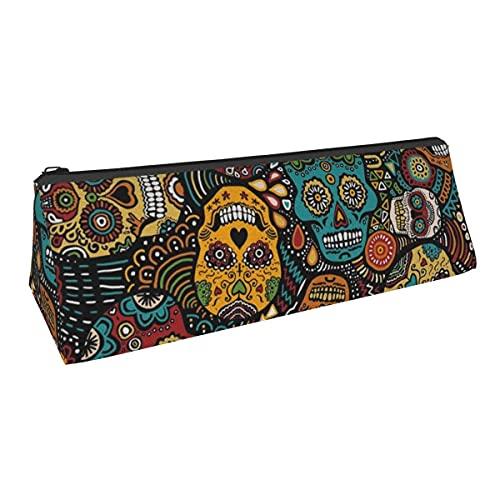Bolsa de almacenamiento para bolígrafos con forma de calaveras mexicanas de azúcar, pequeña capacidad, para niños, niñas, colegio, escuela, oficina, alicates de papelería