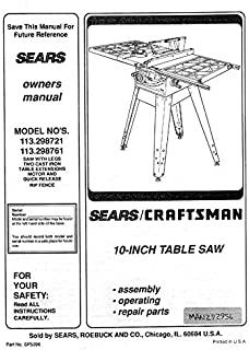 Craftsman 113.298721 113.298761 Table Saw Owners Instruction Manual Reprint [Plastic Comb]