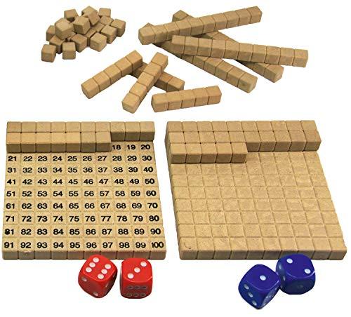 Wissner aktiv lernen 200020.IMP - RE Wood Mathespiel Hunderterraum, Lernspiel für Kinder, Dezimalrechnen im Zehnersystem mit Dienes Stäben, nachhaltig hergestellt