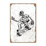 Interesante Skull Skate Retro Poster Apariencias Metal Tin Signs, Club Wall Arte Decorativo, Bar & Cafe Hotel Pasillo interior y exterior Casa Wall Letreros decorativos 20 x 30 cm