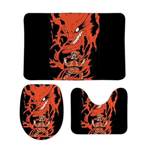 Naruto Nine Tailed Fox Rage Three-Piece Bathroom. Rectangular Floor mat + U-Shaped mat + O-Shaped Cover mat