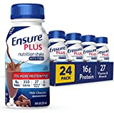 Ensure Plus Nutrition Shake With Fiber, 16 Grams of High-Quality Protein, Meal Replacement, Milk Chocolate, 8 Fl Oz (24 Count)