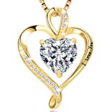 LAVUMO Collares Mujer Amor Colgante de Corazón Oro Rosa Plata de Ley 925 Collares de Mujer,Joyas Regalos para Esposa, Mamá, Novia, Cumpleaños Navidad Aniversario día de San Valentín Regalo(GD4-LOVE)