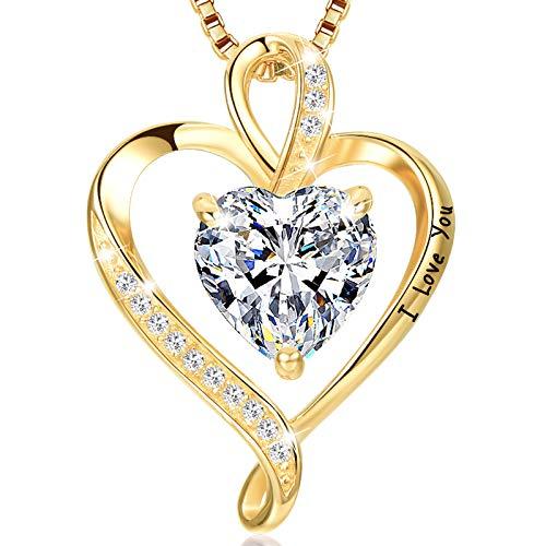 LAVUMO Collares Mujer Amor Colgante de Corazón Oro Rosa Plata de Ley 925 Collares de Mujer,Joyas...