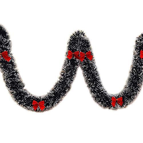WEIHUIMEI 1 STÜCK Weihnachten Weihnachten Girlande mit Bogen Künstliche Christbaumschmuck Dekoration Luxus Hängende Innendekoration (red)