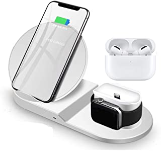 Miuly Qi ワイヤレス充電器 iPhone/Airpods pro 2 in 1 同時 【改良版】急速 ワイヤレスチャージャー 7.5W 10W 充電スタンド Quick Charge 3.0充電アダプター付属 置くだけ充電 最新改良版i...