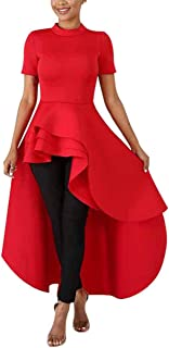 ThusFar Women's Mock Neck Short Sleeve Ruffle Layer Dip Hem Hi-Low Asymmetrical Bodycon Tunic Tops Shirt Blouse Dress