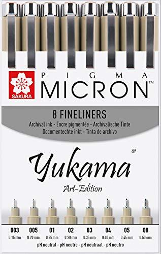 Sakura Pigma Yukama Art-Edition - Rotulador de punta fina (8 unidades, n.º 003-08), color negro