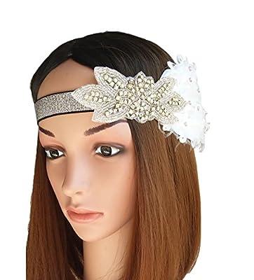 Vintage Feather 20s Headpiece 1920s Great Gatsby Headband Roaring 20s Headband