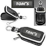 タイプ12TO BW トヨタ TOM'S キーケース ブラック&ホワイト トムス 純正 エンブレム キーホルダー 窓付 スマートキー対応 牛革製 ブラガ