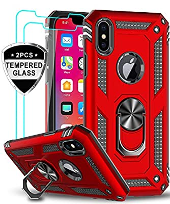 LeYi iPhone X Case, iPhone Xs Case with Tempered Glass Screen Protector [2 Pack], [Military Grade] Protective Phone Case with Magnetic Car Mount Ring Kickstand for iPhone X/Xs / 10, Red