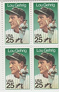 USA 1989 Lou Gehrig Block of 4 Postage Stamps, Catalog No 2417