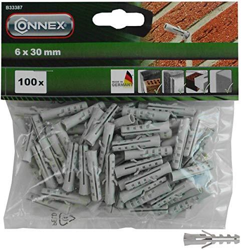 Connex Dübel Ø 6 mm - 100 Stück im praktischen Set - Polypropylen - Für einfache Befestigungsarbeiten in Vollstein & Beton / Dübel-Set / Universaldübel / B33387