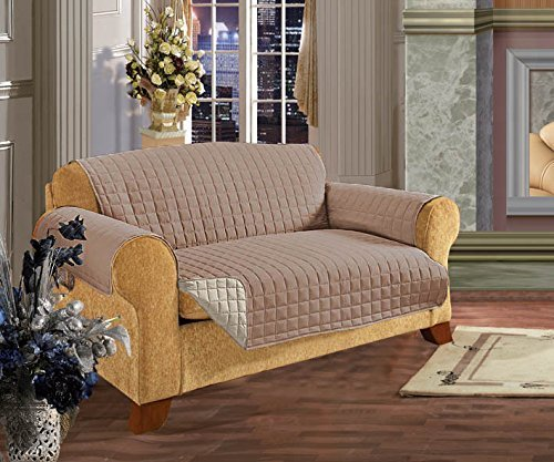 Elegancia y Confort Acolchado diseño de Hojas Reversible Muebles Pantalla para Mascota Perro los niños -2, algodón, marrón/Crema, Sofa
