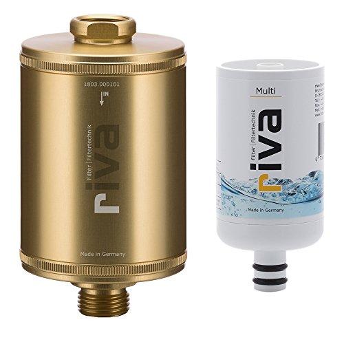 riva Filter | Trinkwasserfilter-Set Multi (Gold) | Zertifizierter, sicherer Schutz gegen Legionellen, Bakterien, Keime in Küche, Dusche und Bad. Made in Germany.