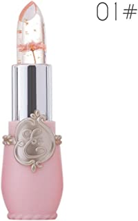 Witspace Makeup Lip Gloss with Flower Inside Crystal Jelly Lipstick Temperature Change Color Lip Balm (Color A)