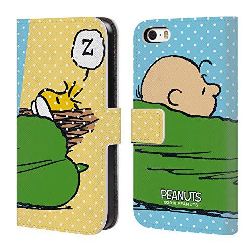 Head Case Designs Oficial Peanuts Charlie & Woodstock Siesta Mitades y Risas Carcasa de Cuero Tipo Libro Compatible con Apple iPhone 5 / iPhone 5s / iPhone SE 2016