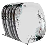 Golden Fish Unbreakable Square Melamine Floral Printed Dinner Plates (Set of 6 Plates, 11 Inches)