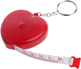 Ladaidra Keychain Mini Heart Tape Measure, 1.5 m / 59 inches, Retractable Ruler Metal Keyring for Home Office Car Key, Random Color