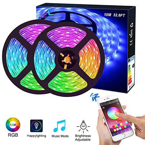 Ruban LED Bluetooth, ALED LIGHT Bande LED Étanche 2x5M(10M) 5050 RGB 150 LEDs, Contrôlé par APP du Smartphone Android et IOS, avec Récepteur Bluetooth, Alimentation 12V 5A, Télécommande IR 24 Touches