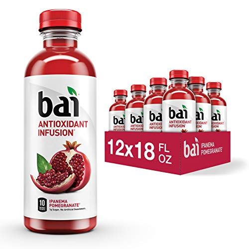 Bai Flavored Water Ipanema Pomegranate Antioxidant Infused Drinks 18 Fluid Ounce Bottles 12 Count