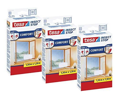 tesa Insect Stop COMFORT Fliegengitter Fenster - Insektenschutz mit Klettband selbstklebend - Fliegen Netz ohne Bohren (130 cm x 130 cm, 3er Pack/Weiß (Leichter Sichtschutz))
