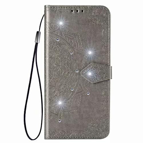 per Xiaomi Poco M3 Caso, 3D Handmade Bling Sparkly Diamonds Gems Mandala Antiurto PU Cuoio Flip Folio Custodie con Magnetico Titolari di Carta Basamento Copertura Protettiva per Xiaomi Poco M3 grigio
