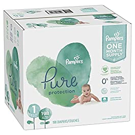 Diapers Pampers Pure Protection Disposable Baby Diapers, Hypoallergenic and Unscented Protection, ONE Month Supply