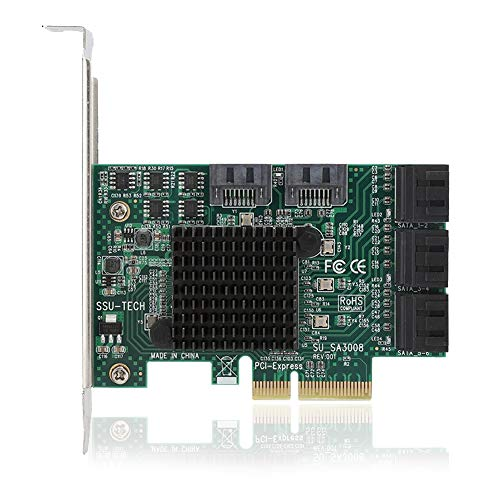PCI SATA-uitbreidingskaart, SA3008 desktop PCI-E naar SATA3.0 8-poorts uitbreidingskaart adapterkaart 6 Gbit / s, ondersteuning voor Synology, Linux, Mac, Nas, kan worden gebruikt als een systeem harde schijf