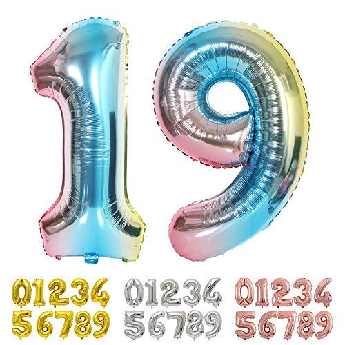 Ponmoo Foil Globo Número 19 Cumpleaño Numeros 0 1 2 3 4 5