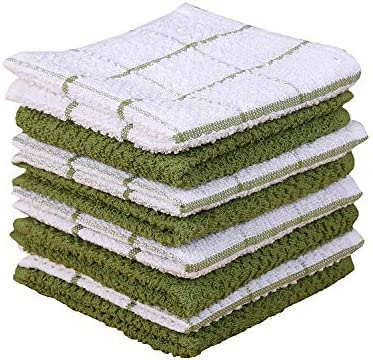 AMOUR INFINI Cotton Terry Kitchen Dish Cloths Set of 8 12 x 12 Inches Super Soft and Absorbent product image