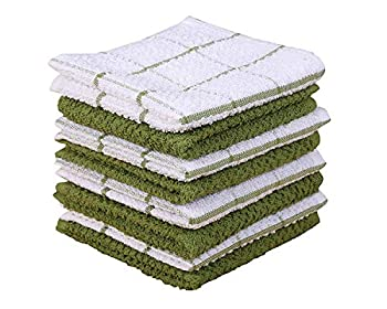 AMOUR INFINI Cotton Terry Kitchen Dish Cloths   Set of 8   12 x 12 Inches   Super Soft and Absorbent  100% Cotton Dish Rags   Perfect for Household and Commercial Uses   Green